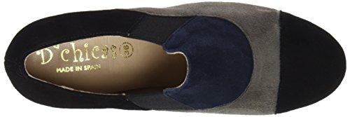 DCHICAS Damen 4414 Geschlossene Schuhe mit Absatz Mehrfarbig (Malaga-schwarz / Graphitfarben / Marineblau)