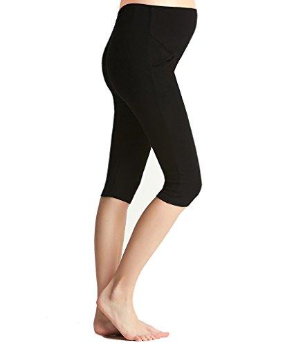 Liang Rou Damen Capri Umstands-Leggings Mini-gerippt Elastisch Figurformend (Gerippte Stretch-leggings)