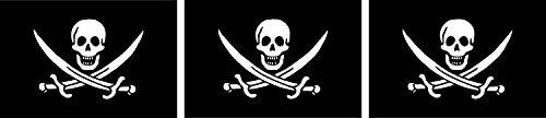 Etaia 2,5x4 cm - 3X Mini Aufkleber Fahne/Flagge Pirat Totenkopf Schädel Skull Jolly Roger kleine Sticker Auto Motorrad Fahrrad Bike auch für Dampfer E-Zigarette Sisha -