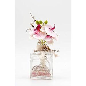 """Kleines Tischgesteck mit rosa/pink,weißen Phalaenopsis in der""""Geschenk"""" Glasvase-Tischdeko mit künstl.Orchideen"""