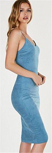 Moda Senza Maniche con spalline con scollo profondo Faux in pelle sintetica scamosciata Midi Longuette Bodycon Aderente Fasciante Slip Dress Vestito Abito blu Blu