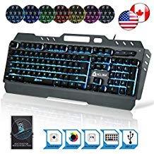 KLIM Lightning – Hybrid halbmechanische Tastatur QWERTZ USA + sieben verschiedene Farben + 5-Jahre Garantie – Gamer Gaming-Tastatur für Videospiele PC PS4 Windows Mac