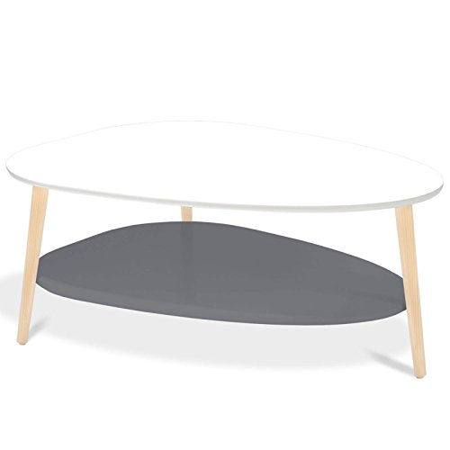 IDMarket - Table Basse gigogne Elsie laquée Blanc et Gris