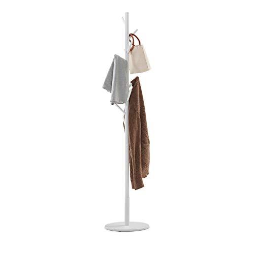 Sunon Garderobenständer aus Massivholz, stabil 8 Haken Jackenständer freistehende Garderobe für Schlafzimmer,Wohnzimmer,Foyer,Diele,175cm (H), Weiß