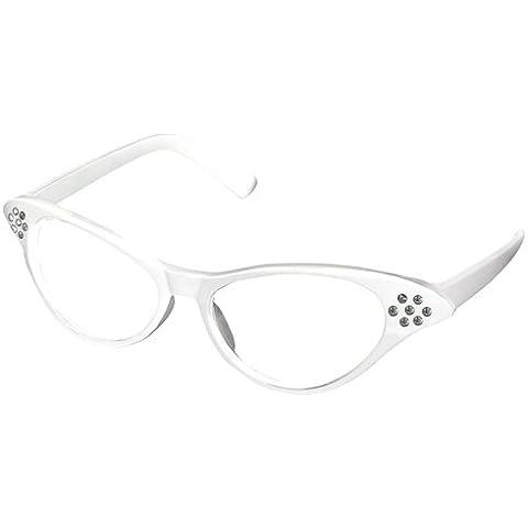 chinkyboo Bianco Anni 50 Grease Retro Donna Cat Eye Occhiali Rock And Roll Costume