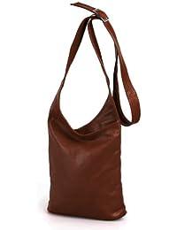 d7436ca1e27a8 IO.IO.MIO Leder Schultertasche Damen Umhängetasche Handtasche Crossover Bag  Farbwahl rot beige   schwarz dunkelblau   blau…