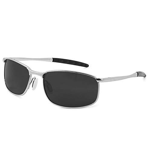 AMZTM Gafas Deportivas Para Hombre Marco De Metal Rectangular Gafas De Sol Polarizadas Para Ciclismo Gafas De Conducción De Moda (Silber Rahmen Grau Linse, 57)