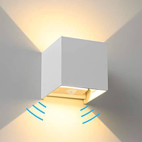 Wandleuchte Bewegungsmelder SEALIGHT LED Wandlampe Dämmerungssensor 7W Wandbeleuchtung Lampe 2700K Warmweiß für Innen- und Außenbeleuchtung Wohnzimmer Schlafzimmer Treppenhaus Flur Hof Garten weiß