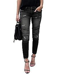 Yidarton Femme Jeans Déchiré Push Up Skinny Slim Fit Stretch Boyfriend  Denim Jean Troué Pantalons Jeggings bd70aaa430a9