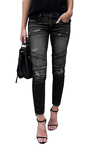Yidarton Jeans Damen Jeanshosen Röhrenjeans Skinny Slim Fit Stretch Stylische Boyfriend Jeans Zerrissene Destroyed Jeans Hose mit Löchern Lässig (Schwarz, M)