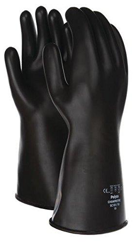 Guanti industriali lunghi al gomito 40cm neri resistenti per agenti chimici taglia 10 XL 1 paio