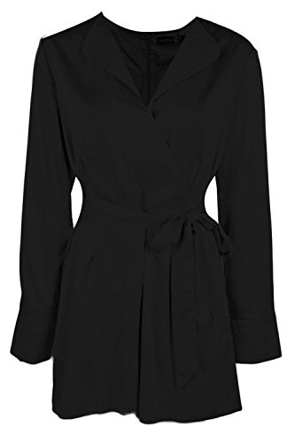 Noir Femme Rose Long Sleeved Wrap Front Satin Playsuit Noir