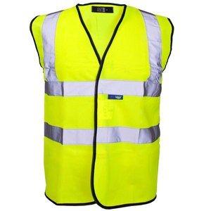 Guilty Gadgets®-gelb Hi Vis Viz Sichtbarkeit Weste Weste Jacke Sicherheit EN471Standard Arbeit Größe XL Extra Groß Traffic Safety Vest