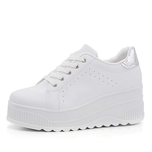 Scarpe donna ginnastica sneakers sportive casual platform zeppa alta moda  b358 bianco argento n. 905e4271a60