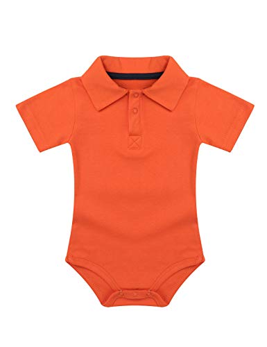 Tiaobug Baby Body Jungen Strampler Kurzarm Hemd mit Kentkragen Baumwolle Bodysuit T-Shirt Einfarbig Spielanzug Jumpsuit Overalls Orange 62-68/3-6 Monate