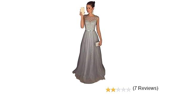 f51cc86e40cc Jitong Donna Vestito Paillettes Lungo Senza Maniche Girocollo Abito da Sera  Matrimonio Vestiti da Cerimonia  Amazon.it  Abbigliamento