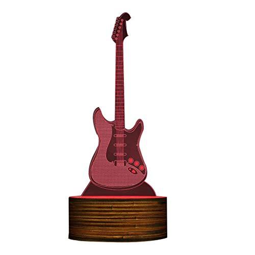 licht Gitarre 3D beleuchtet Zeichen Musik Instrucment LED Nachtlicht, Gitarre Schreibtischlampe Gitarrist Raumbeleuchtung Dekor Rock and Roll Geschenk für Musikliebhaber Emotionale ()