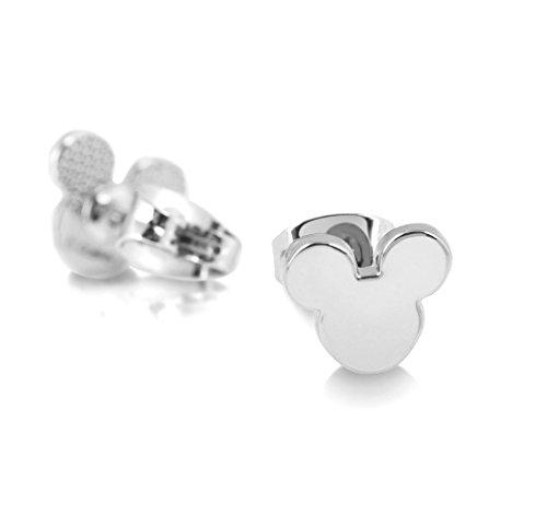 Disney–Pendientes chapados de oro blanco con cierre de mariposa, diseño con cabeza de Mickey Mouse