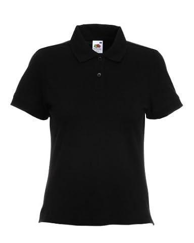 Fruit Of The Loom Damen Polo Shirt, kurzärmlig (2XL) (Schwarz) XXL,Schwarz