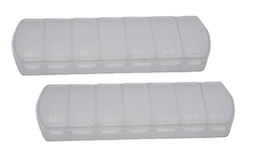 MAXBOX - Pillendose für 7 Tage, Pillenbox mit getrennten Fächern (2 Stück, transparent)