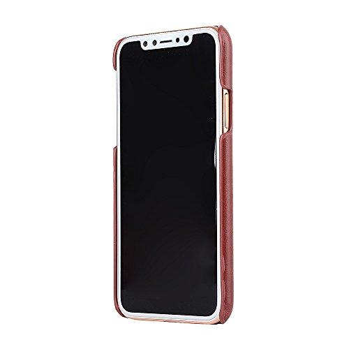 iPhone X Coque,Valenth [Slot pour carte] Protective Shockproof Back Coque Etui pour iPhone X Brown