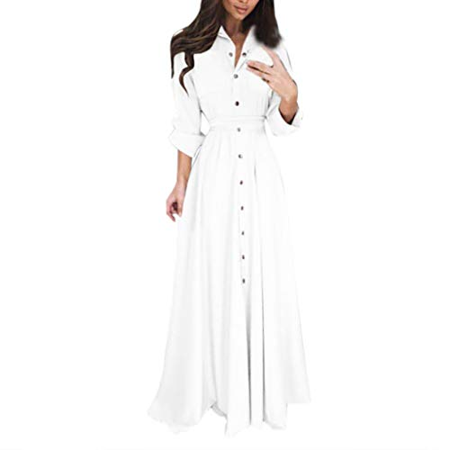 Lange Short Kleid Damen Sommer Elegant Sling Party Dress Cocktail Damen Lady Fashion Langarm Revers Maxi Langes Hemd Kleid Weiß S -