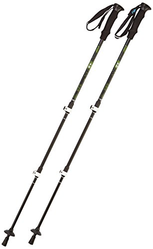 Acxeon Trekking poles - Walking sticks - adjustable telescopic poles for trekking, camping, hiking, 62cm- 135cm, 1 Pair (Blue) (Black)