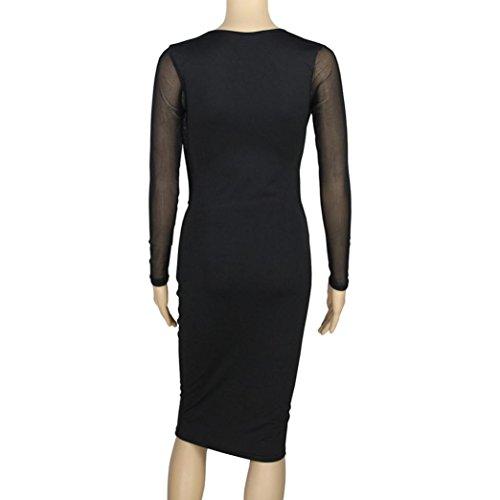 Switchali Damen Kleider Frauen nehmen lange Hülse Bodycon Partei Cocktail Verein mittlere Kleid ab Schwarz