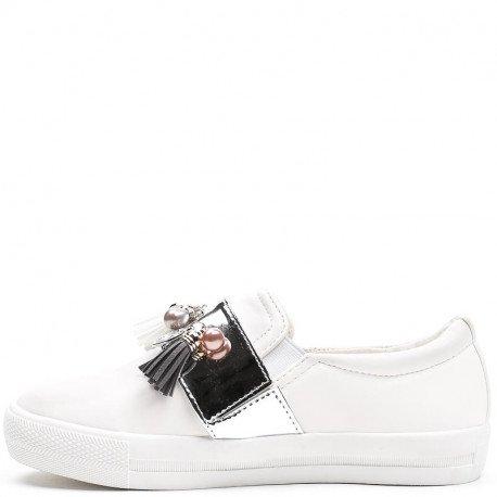 Ideal Shoes - Slip-on blanches décorées d'une bande vernie incrustée de bijoux Leni Argent