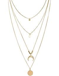 8e574ccaf9f Randymank Collier pendentif en or Vintage couleur corne cercle femme  colliers superposés croissant de Bohême