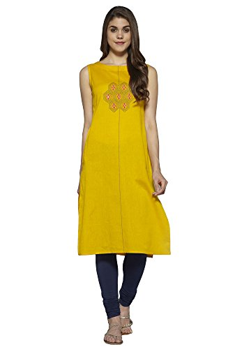 Aahwan Orange Solid Cotton Embroidered Long Straight Kurti for Women (AC-Hexa-Orange-XL)
