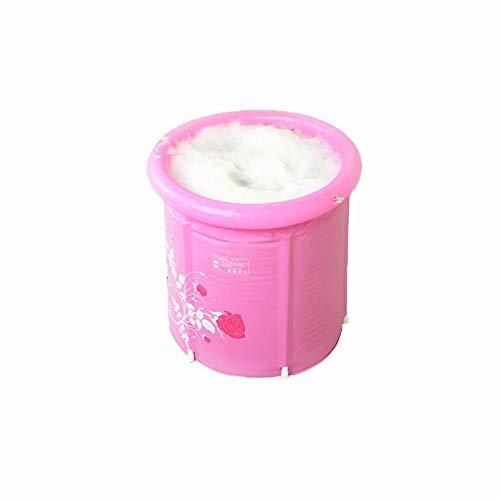 GZ Kunststoff-PVC-Badewanne, Dicke Warme Wanne, Faltwanne, Aufblasbare Erwachsene Badewanne, Haus Kann Badefass Sitzen,Rosa,58 * 65 cm