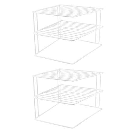 2x Schrankeinsatz mit 2 Etagen - weiß, 25 x 25 x 20 cm, Metall mit Kunststoffummantelung -