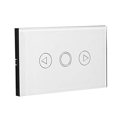 Hongzer Lichtschalter, 1-Wege-Kristallglasscheibe Dimmer Touch Glühlampe LED-Leuchten Wandschalter AC110-240V(Weiß) -