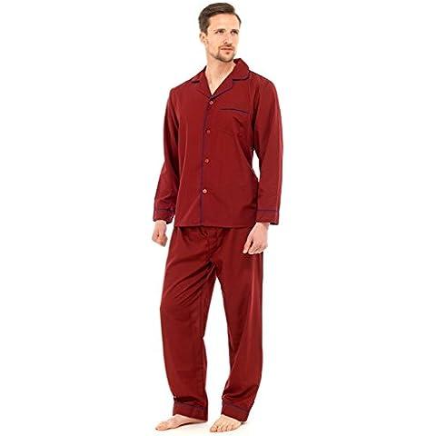 Hombre Largo Tradicional Pijama 2 Piezas Clásico Set Hospital Top + Pantalones Ropa De Noche Para Dormir Talla S -