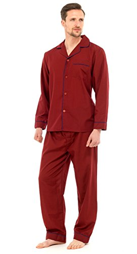 Herren Schlafanzug - Klassisches Design - Hemd & Hose - Einfarbig Rot - L