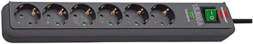 4er Set: Brennenstuhl Eco-Line Überspannungsschutz-Steckdosenleiste 6-fach schwarz mit Schalter, 1159700015