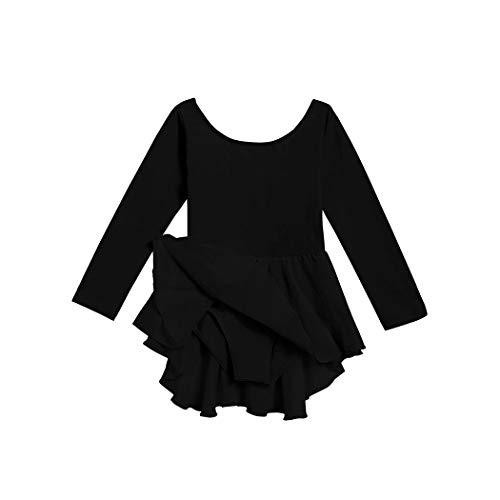 L'Amore Arschiner Kinder Mädchen Langärmeliges Tutu Ballettkleid Trikot Kleid Ballerina Kleid Ballettanzug mit Chiffonröckchen und Gekreutztem Rückenausschnitt in Rosa Schwarz Lila Blau Gr. 120-160 -
