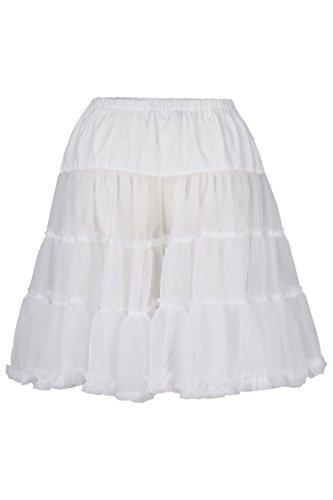 Schlusen Trachtenmode Damen Unterrock 50 cm XS-XXL (XXL, weiß)