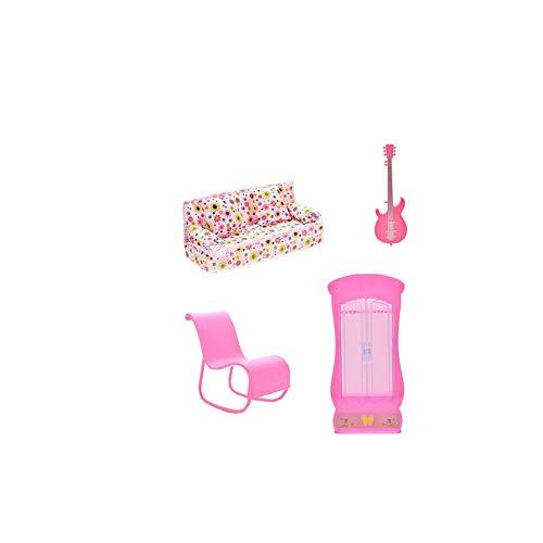 Mecedora 6pcs Barbie Accesorios Muebles Mini Dollhouse Muebles Sofá Sofá Guitarra armario ropero con 2 Cojines Accesorios para Barbie Doll Doll juguetes de la casa