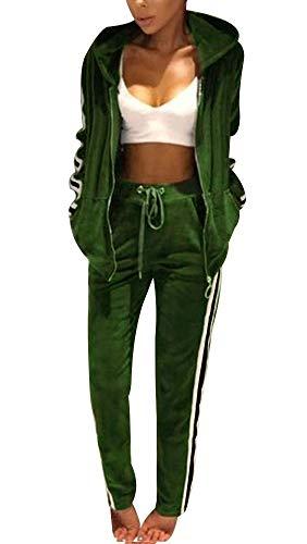 Top-Vigor Damen-Langarm-Trainingsanzug Pyjama-Set Loungewear Winter Jogging Sportwear Kapuzenpullover mit Veloursstreifen, Grün, M