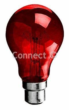 Wellco Bulk Glühlampe / Glühbirne 60W BC (B22D) für den Einsatz in Elektrokaminen, Rot Wellco Bulk Glühlampe / Glühbirne 60W BC (B22D) für den Einsatz in Elektrokaminen, Rot Elektronik In Bulk