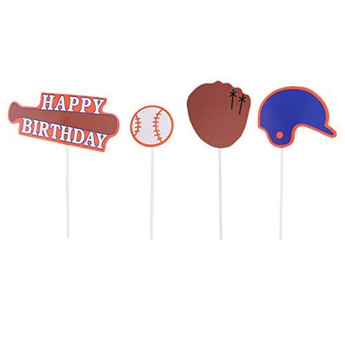BESTOYARD Baseball Cupcake Toppers Picks Dekorative Baseball Thema Kuchen Topper für Geburtstagsfeierversorgungen Begünstigt 24 Stücke