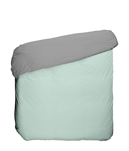Play Basic Collection Housse de Couette, algodón-poliéster, Gris et Vert Glacial, 220 x 240 x 3 cm