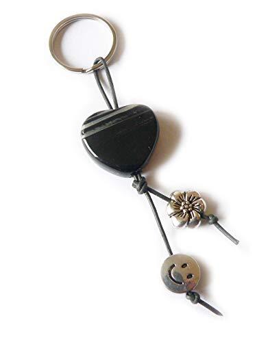 Sardonyx Edelstein Herz mit Smilie und Blume Lederband Schlüsselanhänger