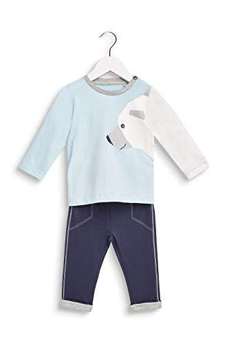 ESPRIT KIDS Baby-Jungen RP3602210 Set T-Shirt+PAN Bekleidungsset, Blau (Ice Blue 408), (Herstellergröße: 80)