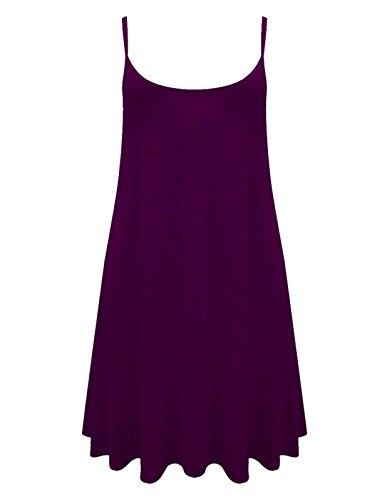 Damen Cami Flared Skater Damen TankTop Strappy Vest Top Swing Mini Dress, Gr. 36-54 Violett - Violett