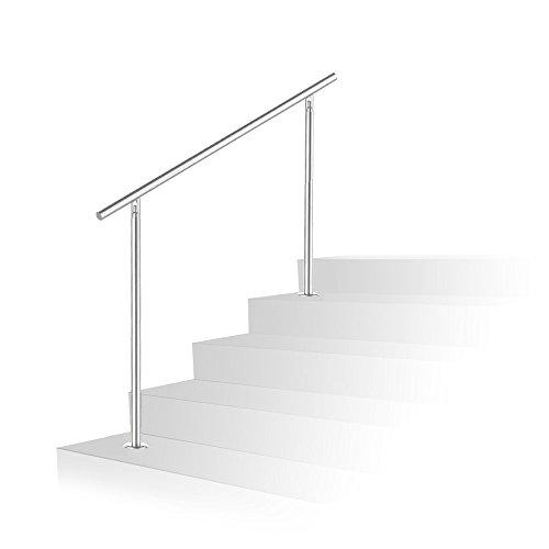 HG® 120CM Geländer Treppengeländer Wandhandlauf Geländer-Set Bausatz Montage Treppe Brüstung Edelstahl