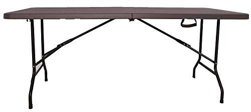 XONE Tavolo Pieghevole Stampo Legno Dark Chocolate con Struttura in Metallo e Piano in Resina, Dimensioni Tavolo 180x75,5x74cm, per Interni e Giardino