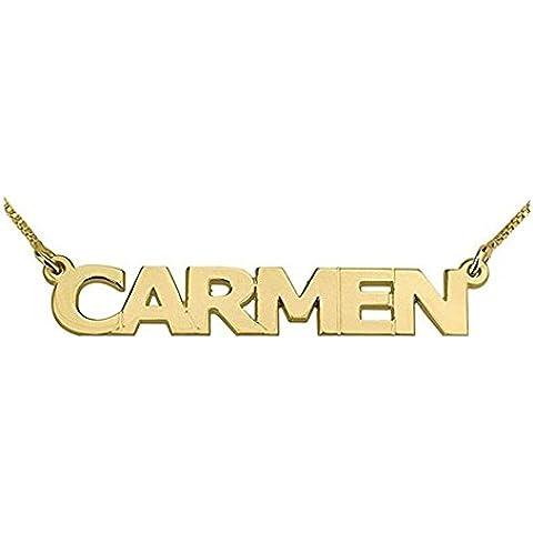 Hacool Collar personalizado de plata de ley en oro 18k plateado colgante por encargo con cualquier nombre